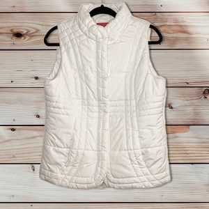 FADED GLORY| White Snap & Zip Front Puffer Vest S